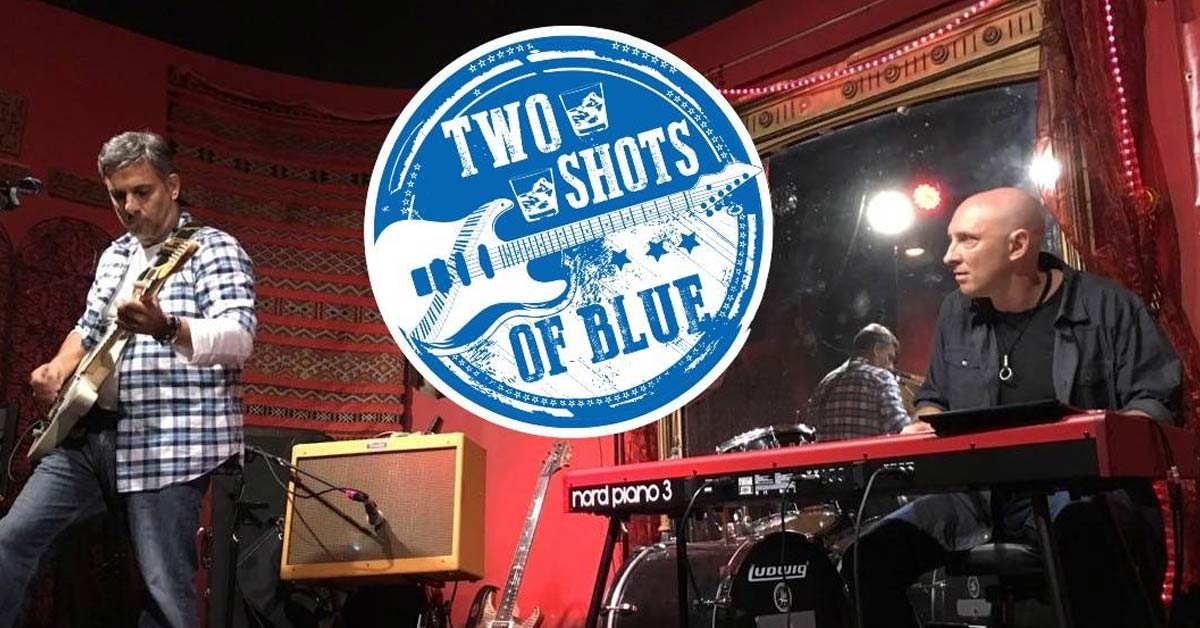 two shots of blue