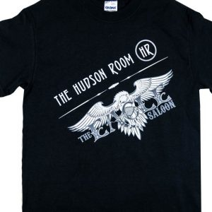 The Hudson Room and Eagle Saloon logos Shirt in black. Front design.