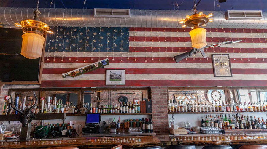 Eagle Saloon Bar and Flag