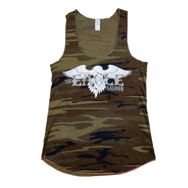 The Eagle Saloon women's camo tank top front design of logo
