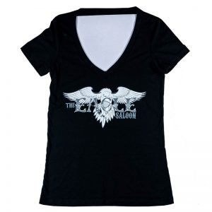 The Eagle Saloon women's v-neck shirt in black. front design of logo